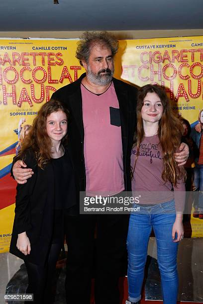 Actors of the movie Fanie Zanini Gustave Kervern and Heloise Dugas attend the Cigarettes Chocolat Chaud Paris Premiere at UGC Cine Cite des Halles on...