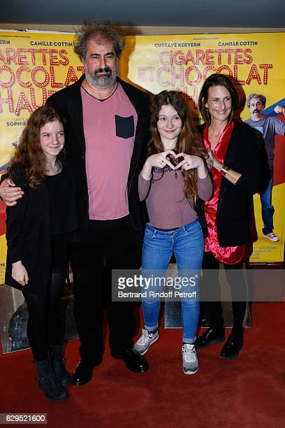 Actors of the movie Fanie Zanini Gustave Kervern Heloise Dugas and Camille Cottin attend the Cigarettes Chocolat Chaud Paris Premiere at UGC Cine...