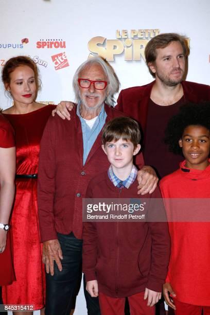 "Actors of the movie Gwendolyn Gourvenec, Pierre Richard, ""Le Petit Spirou"" Sacha Pinault and Director Nicolas Bary attend the ""Le Petit Spirou"" Paris..."