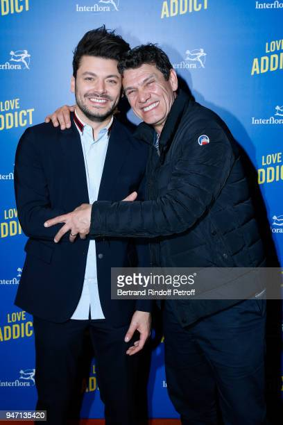 Actors of the movie Kev Adams and Marc Lavoine attend the Love Addict Premiere at Cinema Gaumont Marignan on April 16 2018 in Paris France