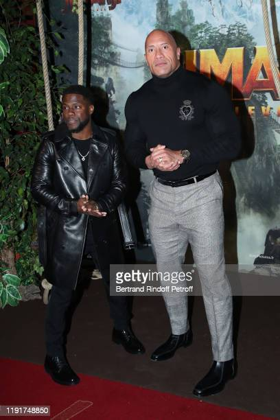 Actors of the movie Kevin Hart and Dwayne Johnson attend the photocall of the Jumanji Next Level film at le Grand Rex on December 03 2019 in Paris...