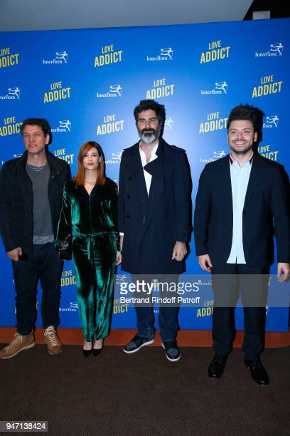Actors of the movie Marc Lavoine Melanie Bernier director of the movie Frank Bellocq and actor of the movie Kev Adams attend the Love Addict Premiere...