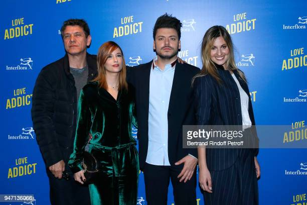 Actors of the movie Marc Lavoine Melanie Bernier Kev Adams and Sveva Alviti attend the Love Addict Premiere at Cinema Gaumont Marignan on April 16...