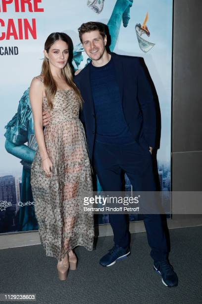 "Actors of the movie Maripier Morin and Alexandre Landry attend ""La Chute de l'Empire Americain"" : Photocall at Cinema UGC Normandie on February 12,..."