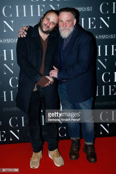 Actors of the movie Vincent Macaigne and Bouli Lanners attend the 'Chien' Paris Premiere at Mk2 Bibliotheque on March 5 2018 in Paris France