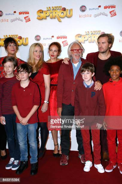 "Actors of the movie Virginie Hocq, Natacha Regnier, Gwendolyn Gourvenec, Pierre Richard, ""Le Petit Spirou"" Sacha Pinault, Director Nicolas Bary and..."