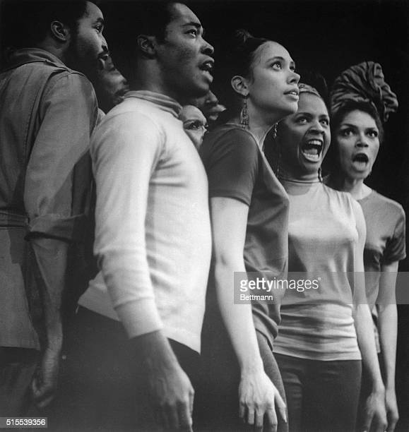 Actors of the Negro Ensemble Company an all Negro group perform scene from the The Song of the Lusitanian Bogey recently The company is the...