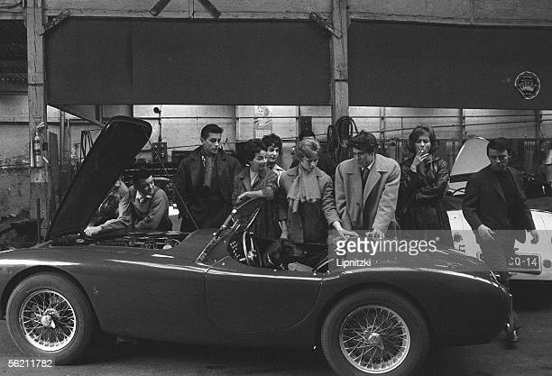 Actors of the New Wave surrounding AC Bristol of film Cheaters of Marcel Carne Of left on the right Alain DelonJeanClaude Brialy Andrea Parisy...