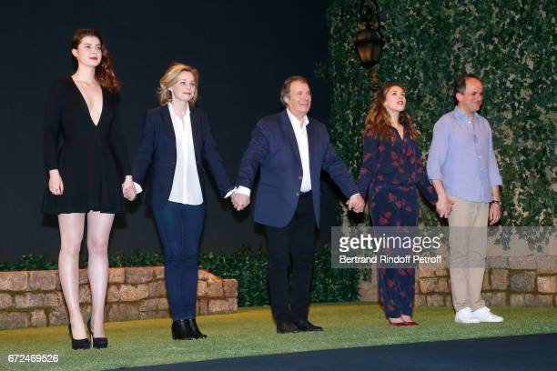 Actors of the piece Alice Dessuant Anne Jacquemin Daniel Russo Alysson Paradis and Lionel Abelanski acknowledge the applause of the audience at the...