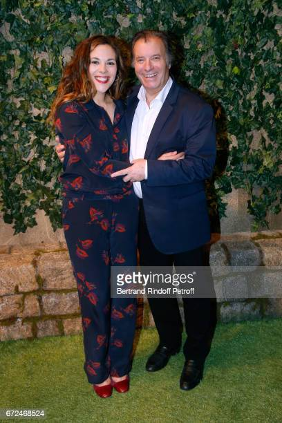 Actors of the piece Alysson Paradis and Daniel Russo pose after 'La Recompense' Theater Play at Theatre Edouard VII on April 24 2017 in Paris France