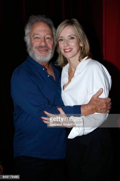Actors of the piece Bernard Murat and Lea Drucker pose after 'La vraie vie' Theater Play at Theatre Edouard VII on September 18 2017 in Paris France
