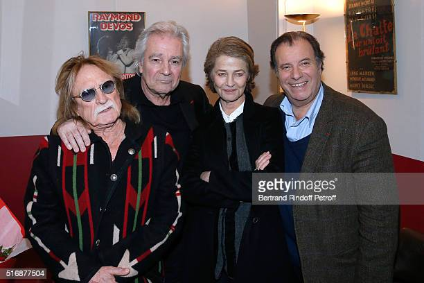 Actors of the Piece Pierre Arditi and Daniel Russo with Singer Christophe and Actress Charlotte Rampling attend the L'Etre ou pas Theater play at...