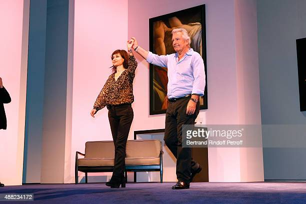 Actors of the Piece Pierre Arditi and his wife Evelyne Bouix acknowledge the applause of the audience at the end of 'Le Mensonge' Theater Play Held...