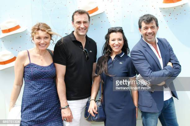 """Actors of the Theater Play """"Le Fusible"""", Juliette Meyniac, Arnaud Gidoin, Gaelle Gauthier and Stephane Plaza, all dressed in Lacoste, attend the 2017..."""