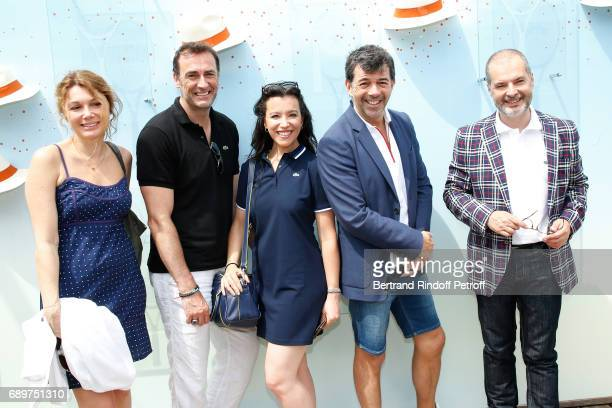 """Actors of the Theater Play """"Le Fusible"""", Juliette Meyniac, Arnaud Gidoin, Gaelle Gauthier, Stephane Plaza and Philippe Dusseau, all dressed in..."""