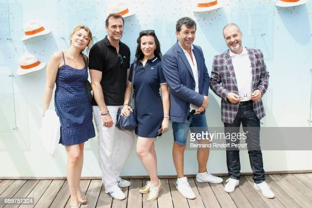 Actors of the Theater Play Le Fusible Juliette Meyniac Arnaud Gidoin Gaelle Gauthier Stephane Plaza and Philippe Dusseau all dressed in Lacoste...