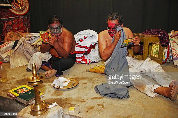 Actors of the traditional temple dance drama Kathakali after the show on December 20 2009 in Varkala near Trivandrum Kerala South India Kathakali is...