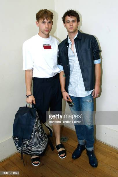 Actors of the TV Series '13 Reasons Why' Tommy Dorfman and Brandon Flynn attend the Cerruti Menswear Spring/Summer 2018 show as part of Paris Fashion...