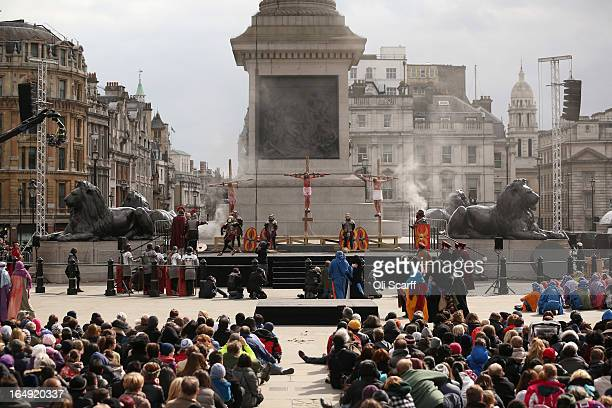 Actors of the Wintershall Players perform 'The Passion of Jesus' on Good Friday to crowds in Trafalgar Square on March 29 2013 in London England The...