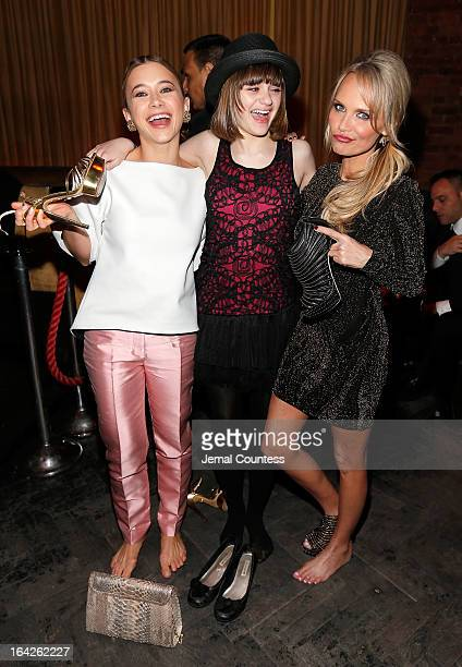 Actors Olesya Rulin Joey King and Kristin Chenoweth attend the Family Weekend New York Screening After Party at 1OAK on March 21 2013 in New York City