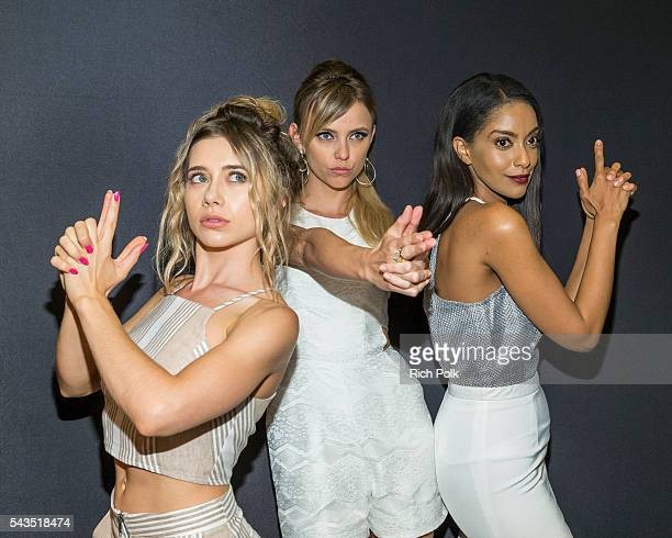 Actors Olesya Rulin Riley Voelkel and Azie Tesfai pose in the photo booth at the Sony Pictures Television Social Soiree Featuring Amazon Pilots 'The...