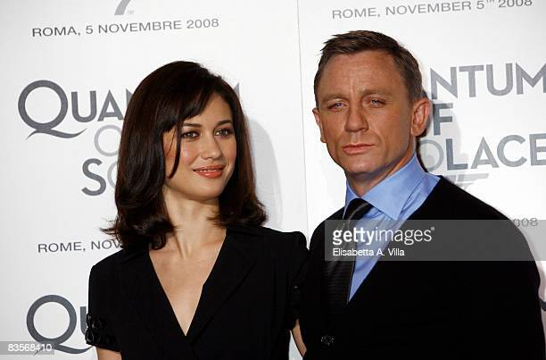 Actors Olga Kurylenko and Daniel Craig attend 'Quantum Of Solace' photocall at the St Regis Grand Hotel on November 5 2008 in Rome Italy