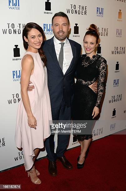 Actors Olga Kurylenko Ben Affleck and Rachel McAdams attend the premiere of Magnolia Pictures' To The Wonder at Pacific Design Center on April 9 2013...