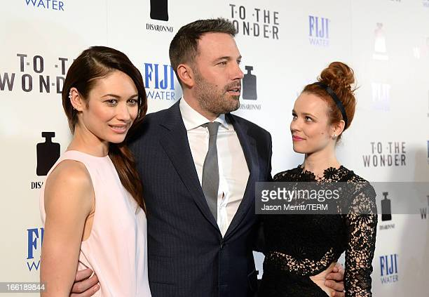 Actors Olga Kurylenko Ben Affleck and Rachel McAdams attend the premiere of Magnolia Pictures' 'To The Wonder' at Pacific Design Center on April 9...