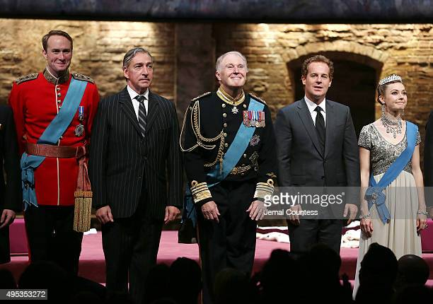 Actors Oliver Chris Miles Richardson Tim PigottSmith Adam James and Lydia Wilson take a bow during curtain call for the Broadway Opening Night of...