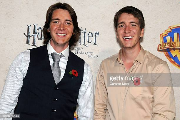 Actors Oliver Phelps and James Phelps arrive at the Harry Potter and the Deathly Hallows Part 2 Celebration at Universal Orlando on November 12 2011...