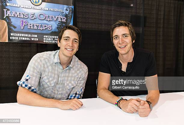 Actors Oliver Phelps and James Phelps attend day 1 of Wizard World Comic Con at Pennsylvania Convention Center on May 7 2015 in Philadelphia...