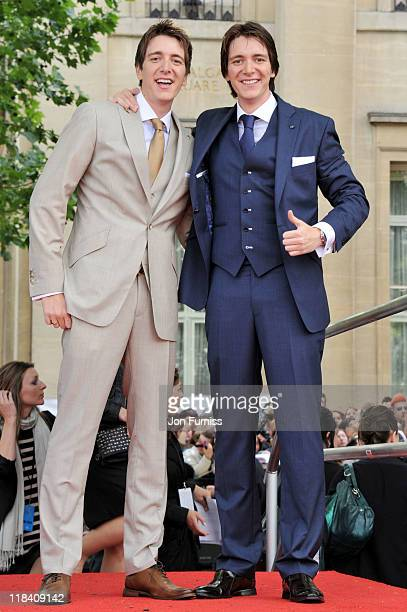 Actors Oliver Phelps and James Phelps attend the Harry Potter And The Deathly Hallows Part 2 world premiere at Trafalgar Square on July 7 2011 in...