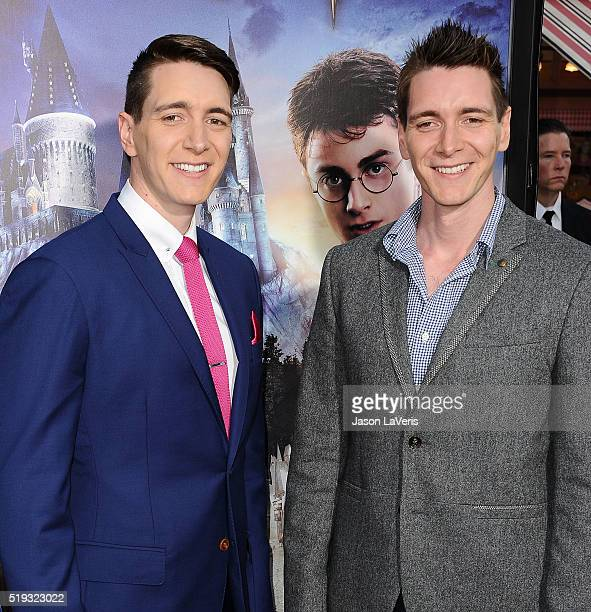 Actors Oliver Phelps and James Phelps attend the opening of The Wizarding World of Harry Potter at Universal Studios Hollywood on April 5 2016 in...