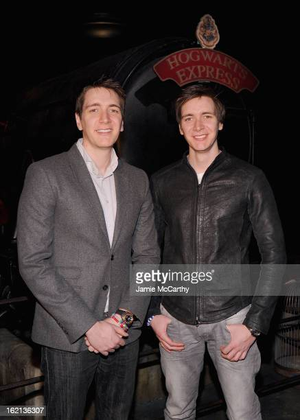 Actors Oliver Phelps and James Phelps visit The Harry Potter Exhibit at Discovery Times Square on February 19 2013 in New York City
