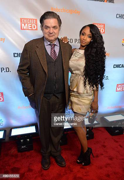 Actors Oliver Platt and Yaya DaCosta attend a premiere party for NBC's 'Chicago Fire' 'Chicago PD' and 'Chicago Med' at STK Chicago on November 9...