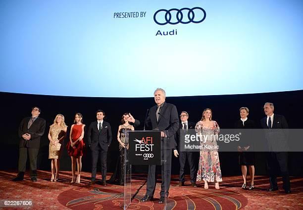 Actors Oliver Platt Megan Hilty Taissa Farmiga Alden Ehrenreich Lily Collins Warren Beatty Matthew Broderick Haley Bennett and Annette Bening attend...
