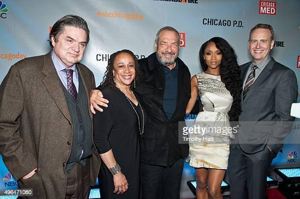Actors Oliver Platt, S. Epatha Merkerson, Executive Producer Dick Wolf, actress Yaya DaCosta and NBC Entertainment chairman Robert Greenblatt attend...
