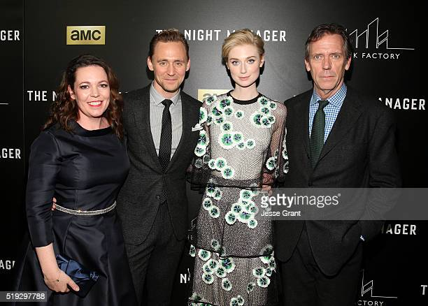 Actors Olivia Coleman Tom Hiddleston Elizabeth Debicki and Hugh Laurie attend the premiere of AMC's 'The Night Manager' at DGA Theater on April 5...