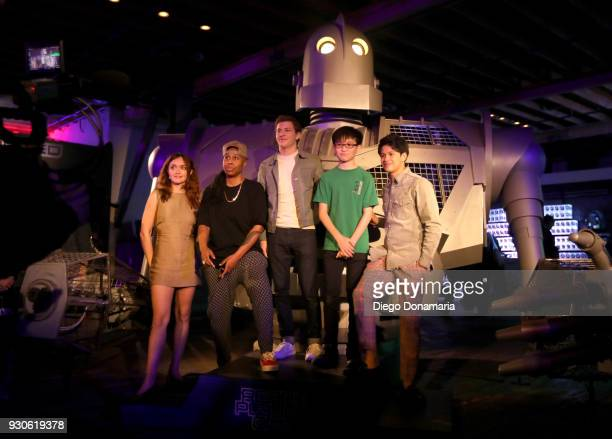 Actors Olivia Cooke Lena Waithe Tye Sheridan Philip Zhao and Win Morisaki visit the Ready Player One experience during SXSW on March 11 2018 in...