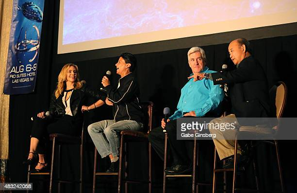 Actors Olivia D'Abo Tracee Cocco Richard Poe and Clyde Kusatsu speak during the TNG Guest Stars Panel at the 14th annual official Star Trek...