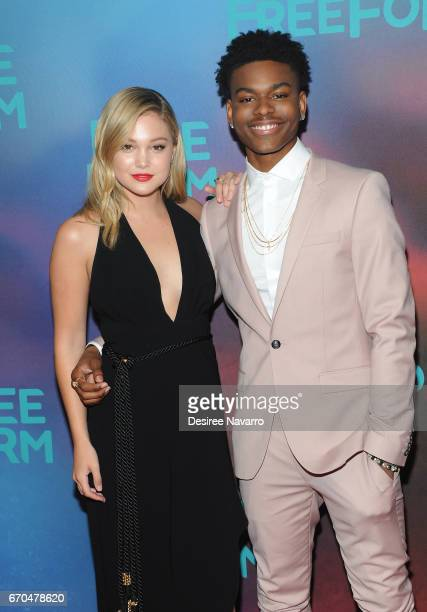 Actors Olivia Holt and Aubrey Joseph attend Freeform 2017 Upfront at Hudson Mercantile on April 19 2017 in New York City