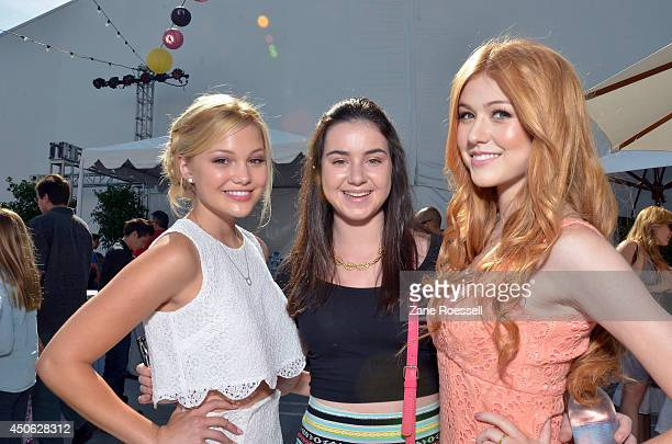Actors Olivia Holt and Katherine McNamara attend the after party for the premiere of Earth to Echo during the 2014 Los Angeles Film Festival at LA...