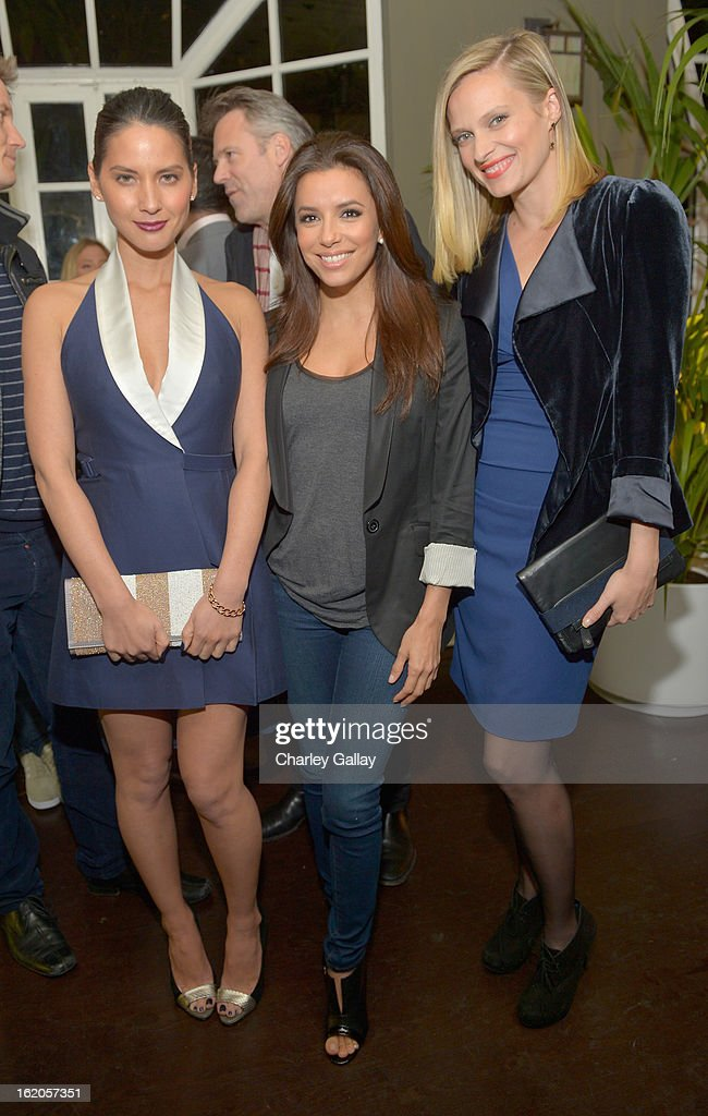 "Actors Olivia Munn wearing Juicy Couture, Eva Longoria and Vinessa Shaw attend Vanity Fair and Juicy Couture's Celebration of the 2013 ""Vanities"" Calendar hosted by Vanity Fair West Coast Editor Krista Smith and actress Olivia Munn in support of the Regional Food Bank of Oklahoma, a member of Feeding America, at the Chateau Marmont on February 18, 2013 in Los Angeles, California."