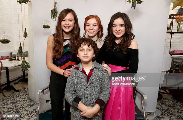 Actors Olivia Sanabia August Maturo Abby Donnelly and Aubrey Miller attend the second season premiere of Amazon Original Series 'Just Add Magic' at...