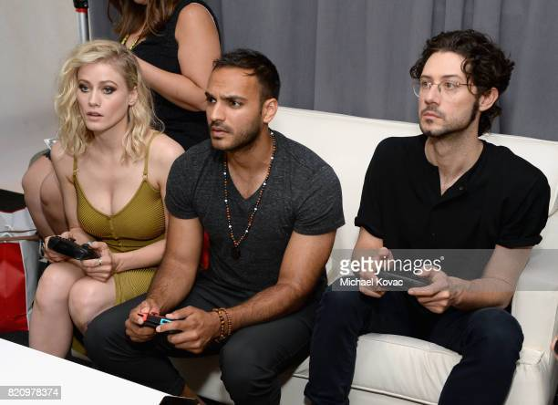 Actors Olivia Taylor Dudley Arjun Gupta and Hale Appleman from the SYFY series The Magicians stopped by Nintendo at the TV Insider Lounge to check...