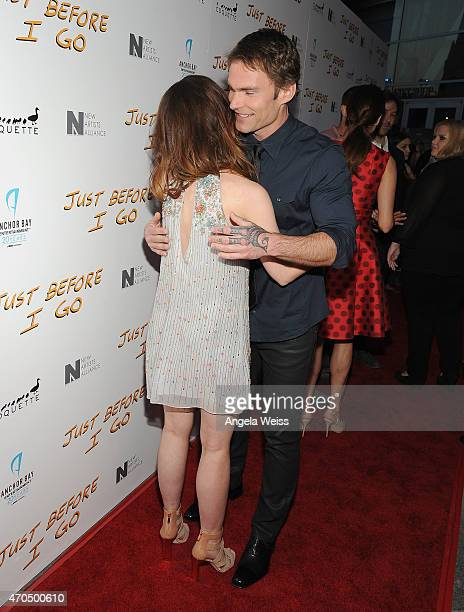 Actors Olivia Thirlby and Seann William Scott attend the Los Angeles Special Screening of Just Before I Go at ArcLight Hollywood on April 20 2015 in...