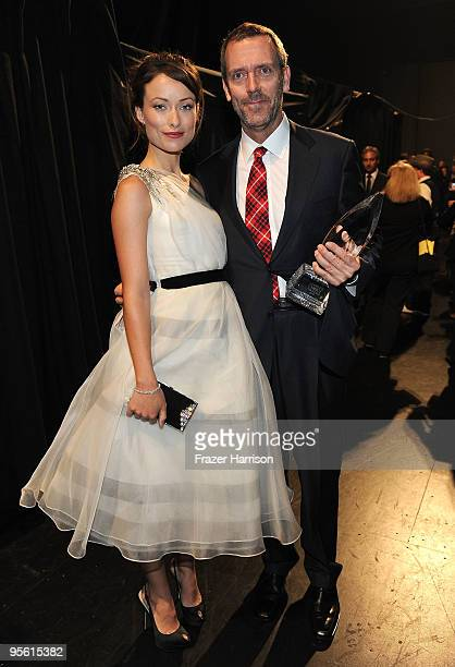 Actors Olivia Wilde and Hugh Laurie backstage during the People's Choice Awards 2010 held at Nokia Theatre LA Live on January 6 2010 in Los Angeles...