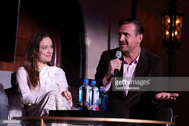 Actors Olivia Wilde and Jason Segel speak onstage at 'Indie Contenders Roundtable presented by The Hollywood Reporter' during AFI FEST 2015 presented...
