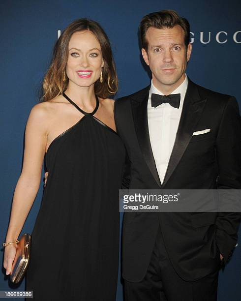 Actors Olivia Wilde and Jason Sudeikis arrive at the LACMA 2013 Art Film Gala at LACMA on November 2 2013 in Los Angeles California