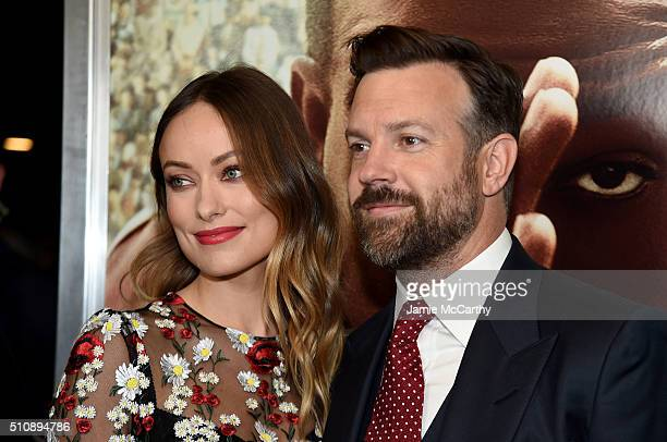 Actors Olivia Wilde and Jason Sudeikis attend 'Race' New York Screening at Landmark's Sunshine Cinema on February 17 2016 in New York City
